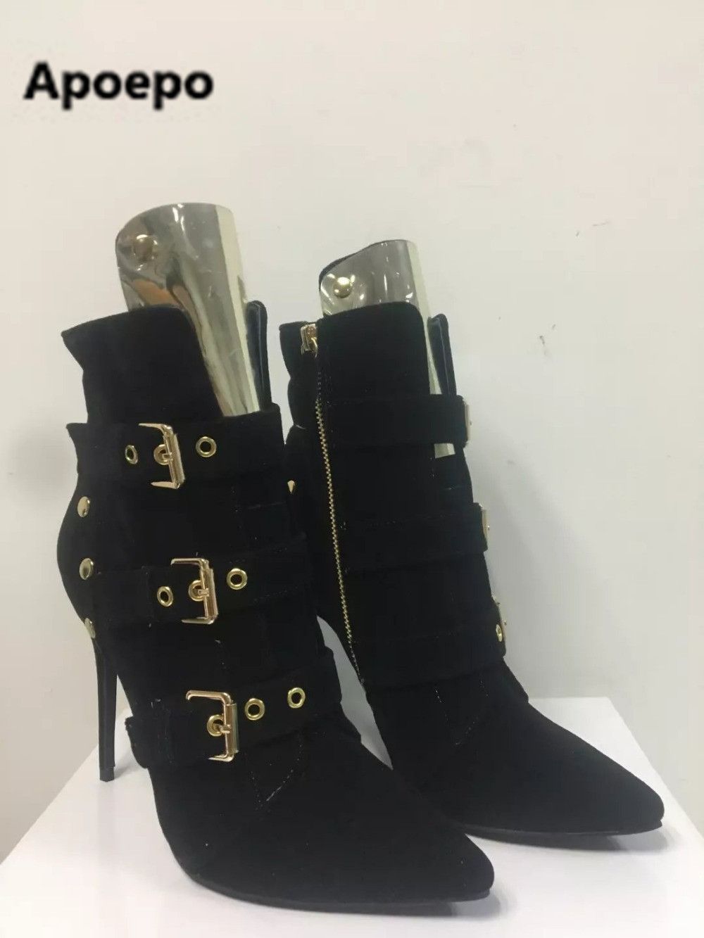 Apoepo real picture sexy black pointed toe ladies boots gold buckle high heels ankle boots women zipper 2017 spring autumn camino real gold купить грн