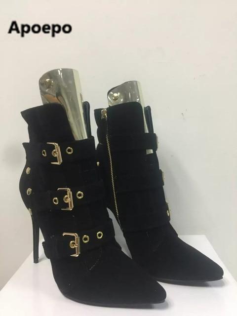 3b43fbed6164b6 Verkauf echt bild sexy schwarz spitz damen stiefel gold schnalle high heels  stiefeletten frauen zipper 2017