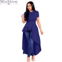 Plus Size 5XL 4XL Sexy Short Sleeve High Low Maxi Long Dress Summer 2018 Women Blue Red Black Party Dresses Big Vestidos