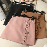 Autumn And Winter Women Short Skirt Black Pink And Brown Slim Sexy High Waist Bow Tie