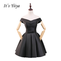 It S YiiYa Little Black Dress Champagne Boat Neck Simple Lace Up Cocktail Dresses Short Stain
