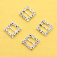 10Pcs/Set silver rhinestone buckle ribbon slider invited to the wedding Dceoratoin Diy Accessories free shipping(China)
