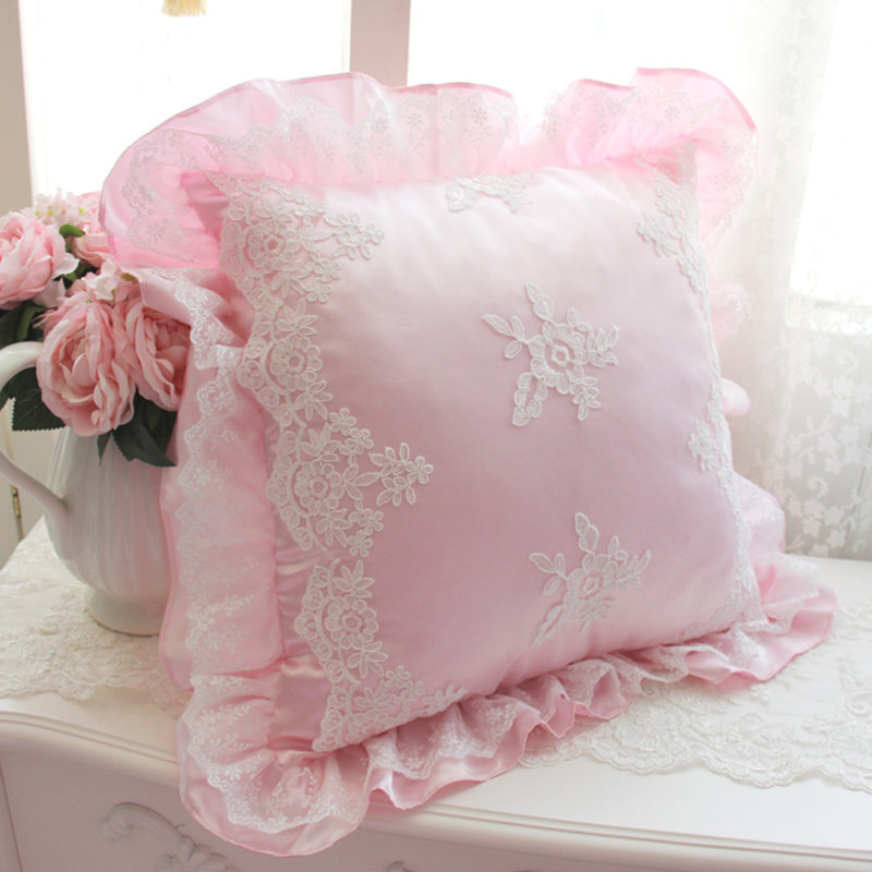Hot Luxury Romantic Embroidery Lace Cushion Wedding