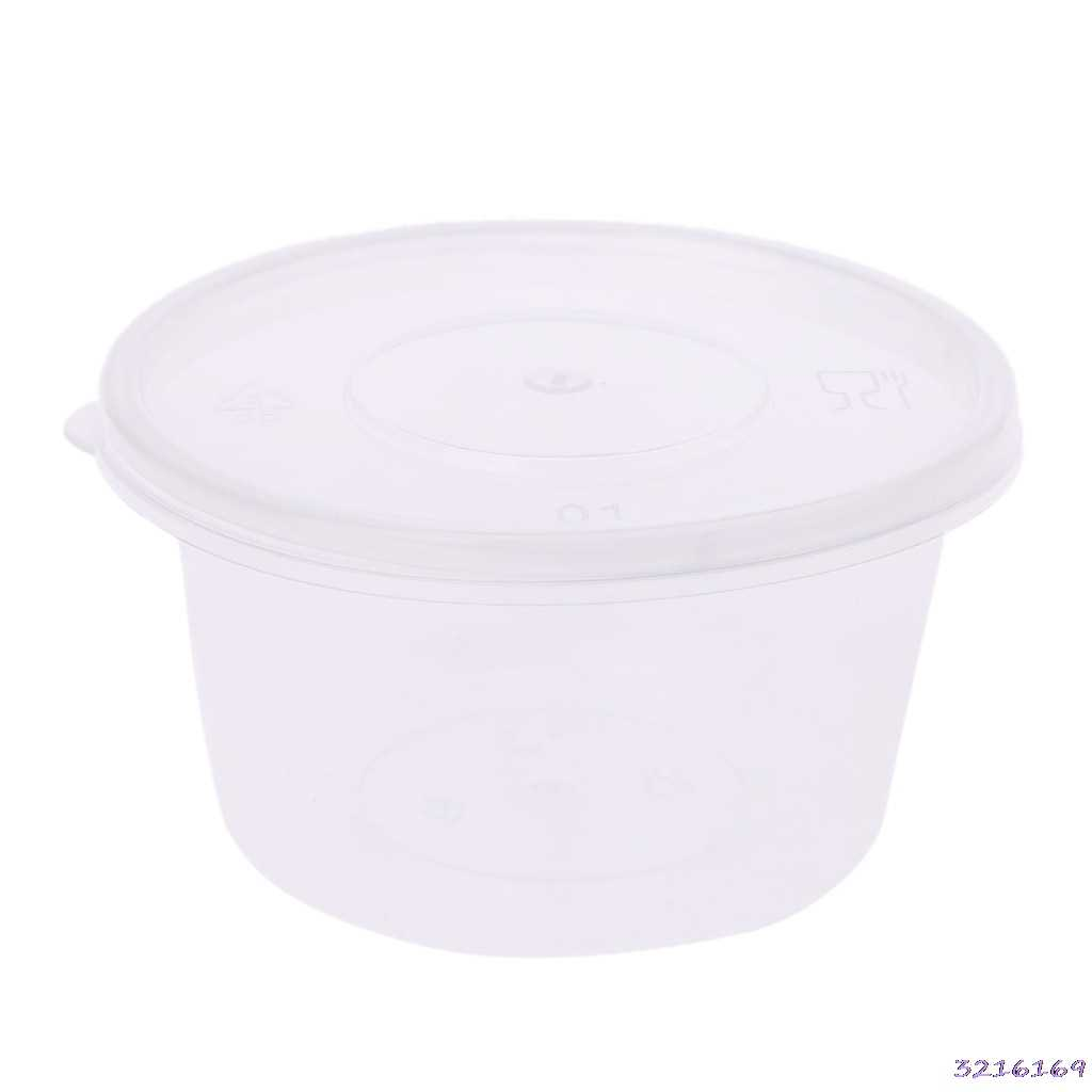 10pcs Kitchen Disposable Plastic Sauce Cup Pot Chutney Container With Lid Slime Storage Box Case 100ml