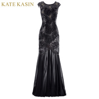 Kate Kasin Cap Sleeve Evening Dress 2017 Sequins Mother Of The Bride Dresses Long Gown Black