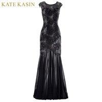 Kate Kasin Cap Sleeve Evening Dress 2017 Sequins Mother of the Bride Dresses Dài Gown Đen Formal Dresses Đảng Evening Gowns