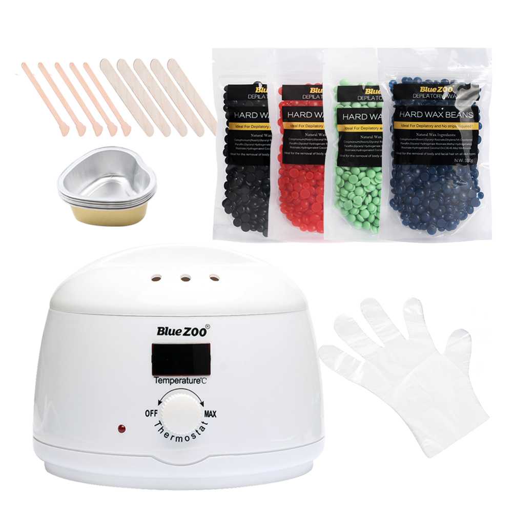 Wax Hot Heater Hard Wax Beans No Strip Depilatory Hot Film Hard Beans Machine Remove Hair Set Pellet Waxing Wooden Sticks Beauty