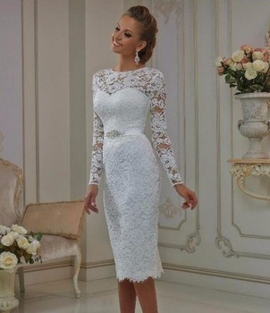 Vintage Lace Tea Length Short Wedding Dresses 2020 With Long Sleeves Sheath Jewel Neck Casual Bridal Gowns robe de mariage