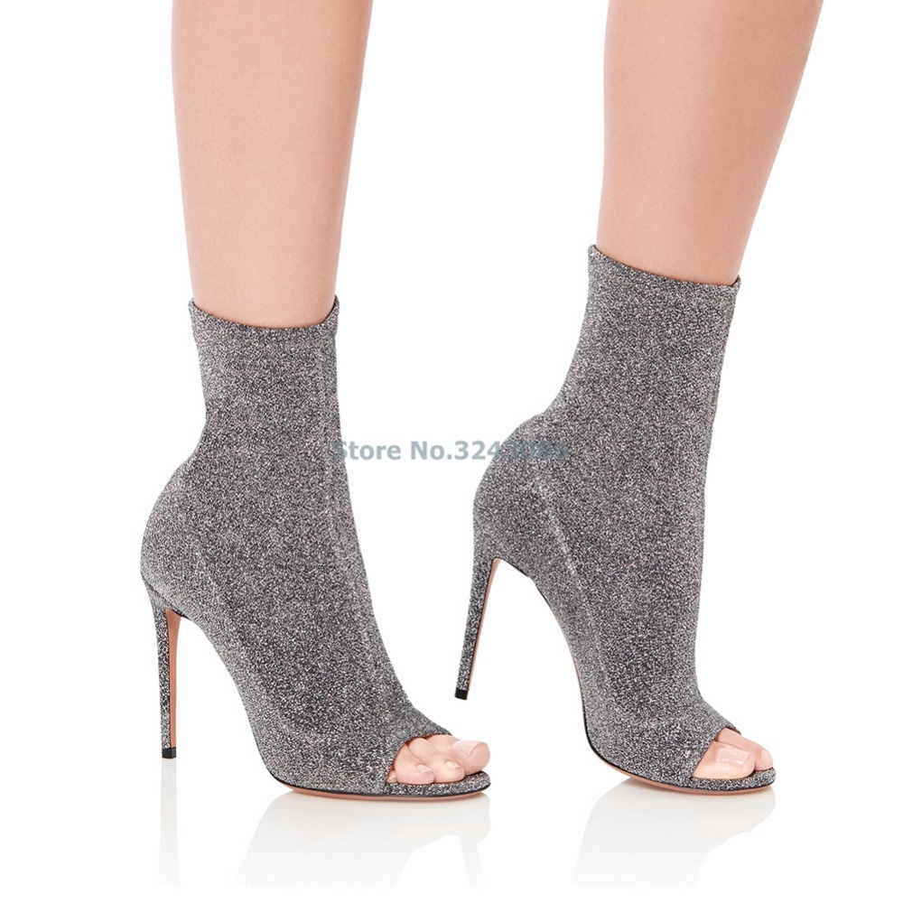 New Arrival Peep Toe Faux Suede Thin High Heel Ankle Boots Brown Nubuck Pleated Boots Silver Stretch Fabric Open Toe Boots - 5