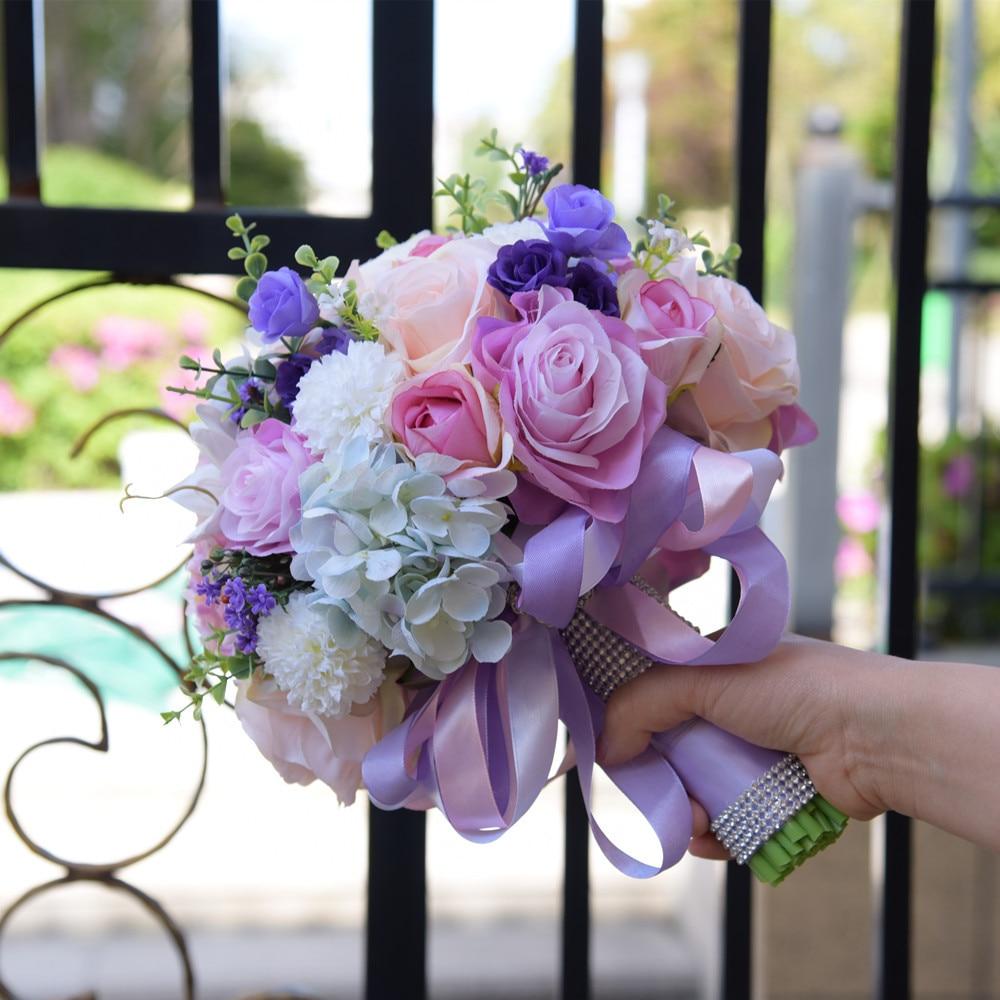 Silk Wedding Flowers Rhinestone Jewelry Blush Pink Brooch Bouquet Gold Broach Bridal Wedding Dress Wedding Bouquet