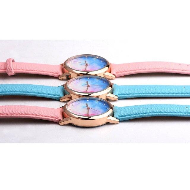Retro Rainbow Women Watches Men Strap Analog Alloy Quartz Wrist Watch Leather Band Ladies Bracelet Watches Relojes Mujer