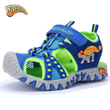 Dinoskulls Kids Children Beach Boys Shoes Sandals Summer 2017 Toddler Sandals Leather Shoes Dinosaur Glowing Sandals