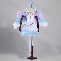 love live cosplay dress with feather wing flowers short lolita dress customs size making
