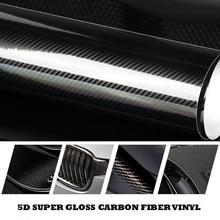 Filme vinílico de fibra de carbono brilhante, filme de alto carbono 5d, 200cm * 50cm, acessórios de estilo de carro, motocicleta filme de fibra de carbono,