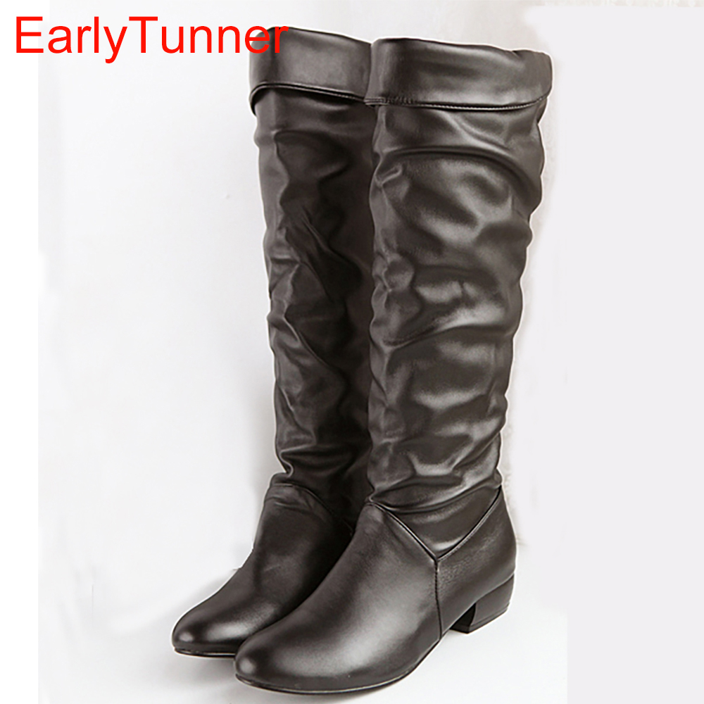 Brand New Winter  Black Brown White Women Platform Slouch Knee High Boots Lady Snow Boots AZ-7 Low Heels Plus Big Size 10 31 47 alfani new black women s size small s mesh back high low ribbed blouse $59 259