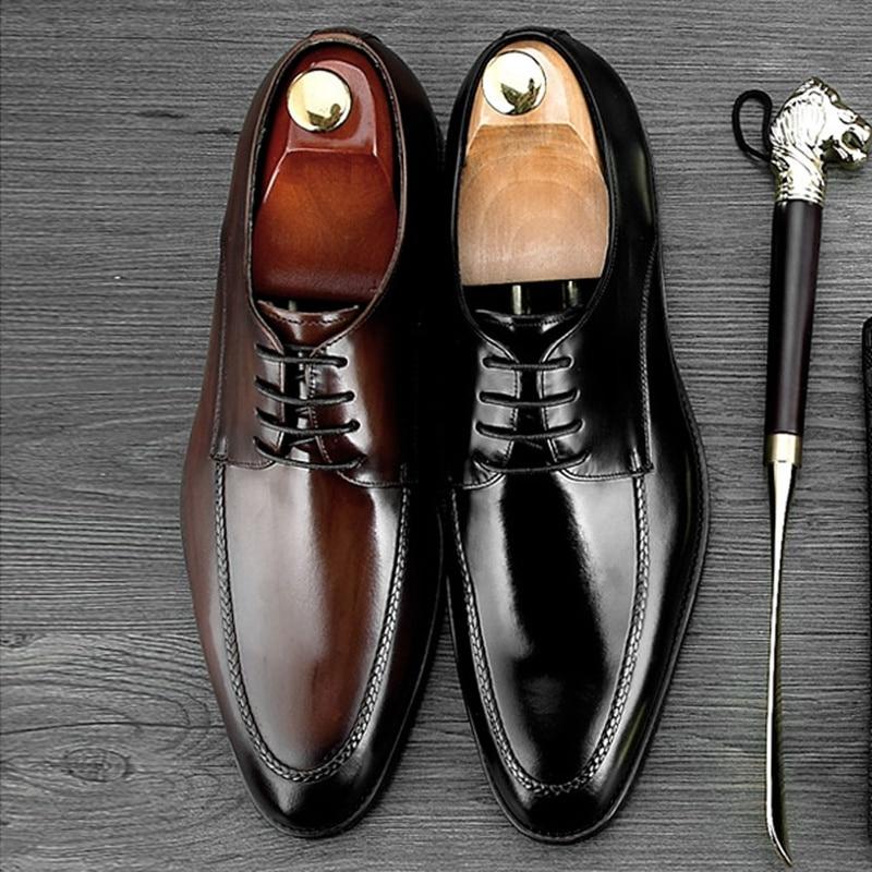Elegant Round Toe Derby Man Formal Dress Shoes Genuine Leather Handmade Prom Oxfords Men
