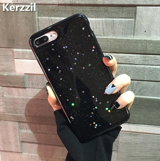 Kerzzil Bling Glitter Soft Silicone Case For iPhone 7 6 6S Plus Star Cover Shining Phone Cases For iPhone X 6 6S 8 Plus Capa