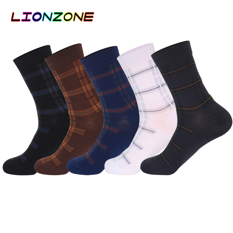 LIONZONE Business Dress Plaid Men Tube Socks Bamboo USA Israel Skarpetki Chaussette Homme Hiver Brand Thick Socks