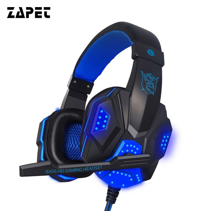 ZAPET Cuffia Gaming Wired HIFI Bass Auricolare Stereo Regolabile Confortevole Gamer Cuffie con la luce del LED MIC per PC Computer