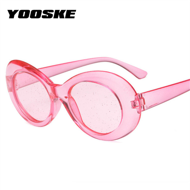 4daa815f16ba YOOSKE Men NIRVANA Kurt Cobain Sunglasses Women Oval Clout Goggles Glasses  Female Male Glitter Clear Lens Sun Glasses