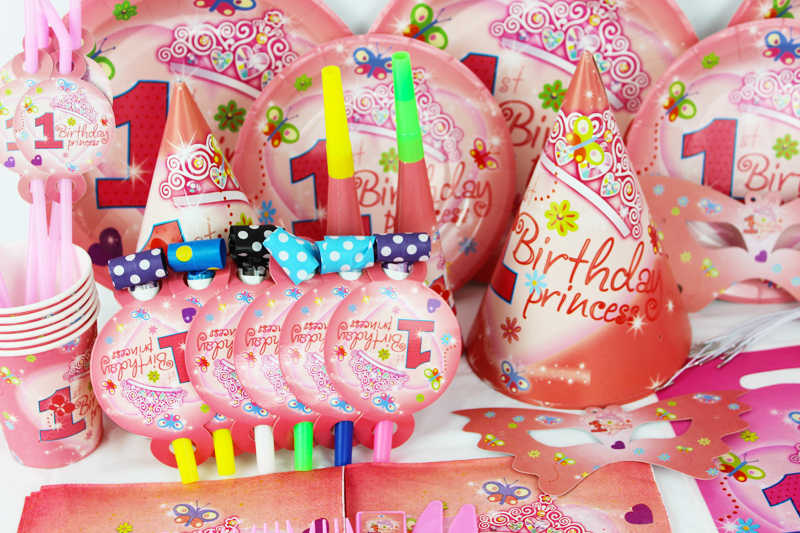 2015 New 78pcs Pretty Girl 1 Year Old Kids Boys Birthday Party Decorations Evnent