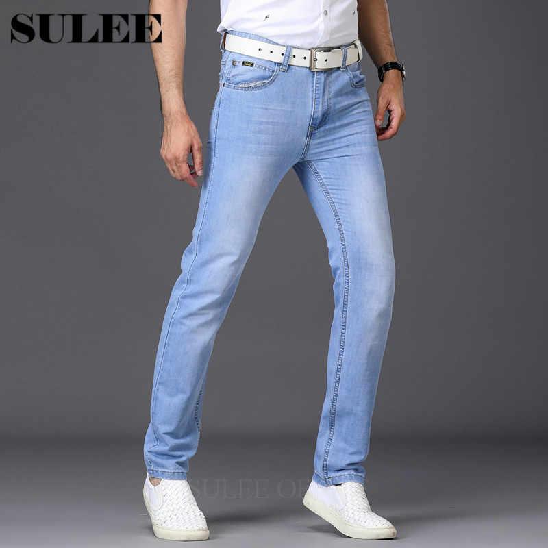 b3dc597c4b9 SULEE брендовые узкие джинсы мужские легкие тонкие классические джинсы  Летний стиль джинсовые мужские брюки брендовые весна