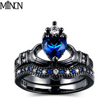 MINCN Double Ring Female Handheld Heart Crown Ring Fashion Black Gold rings for women кольцо fashion ring 3colors double fingers ring