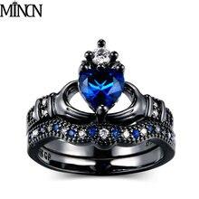 MINCN Double Ring Female Handheld Heart Crown Fashion Black Gold rings for women