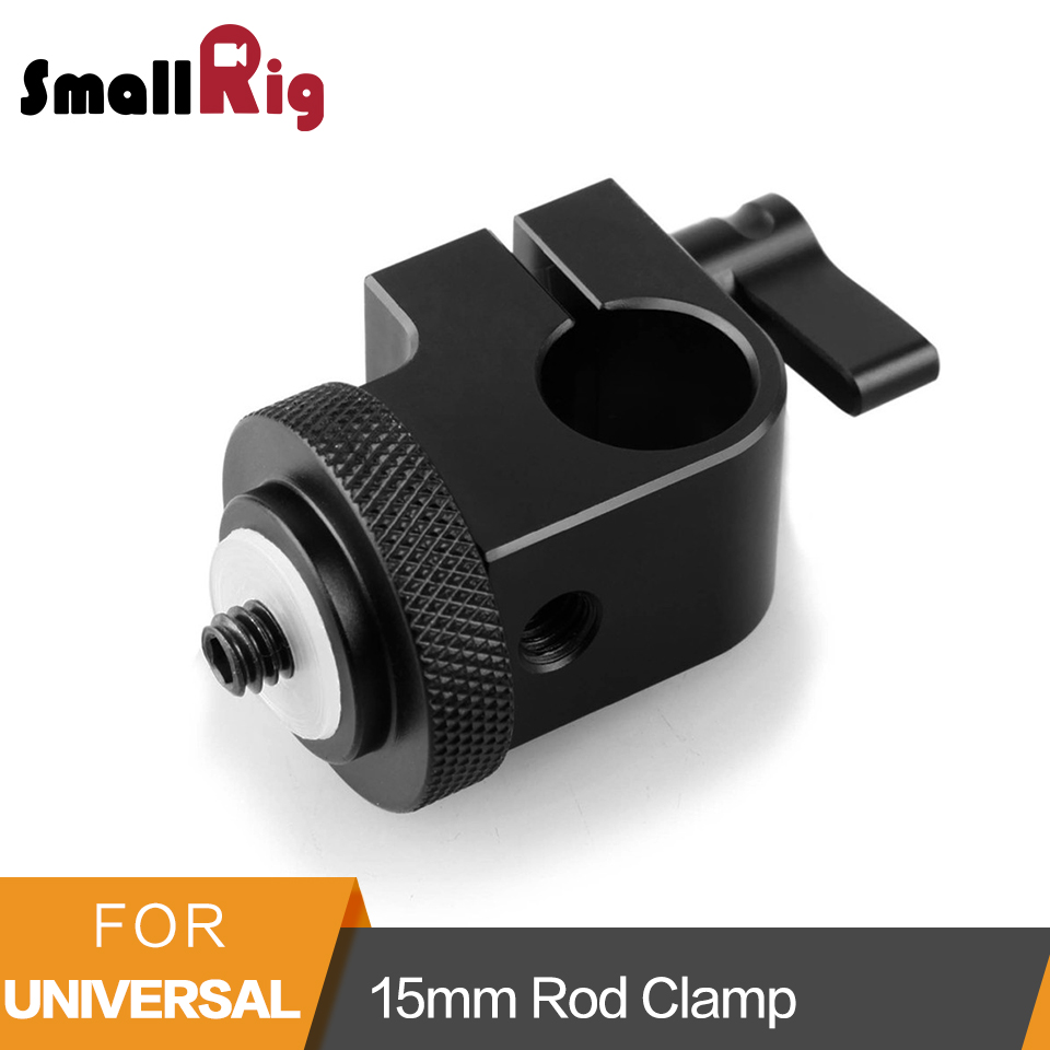 SmallRig Dslr Rig System 15mm Rod Clamp with 1/4 Thread Hole to Attach Camera Microphones/Sound Recorders- 860