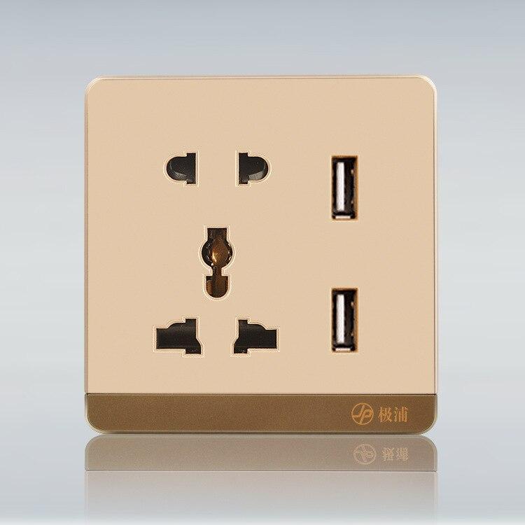 Новый золотой двойной зарядка через USB розетки США/ЕС/АС Plug Зарядное устройство док-станции Разъем Мощность <font><b>Outlet</b></font> Панель пластины для iphone Samsung &#8230;