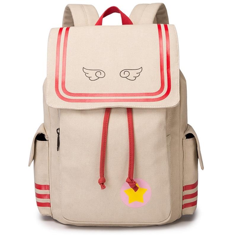 Lovely girl's school backpack Canvas durable high capacity backpacks for kawaii girls Card captor Sakura concept Backpack AB257 card captor sakura razer lolita bags kawaii mini backpack cardcaptor sakura girls school bags with angel wings women backpack