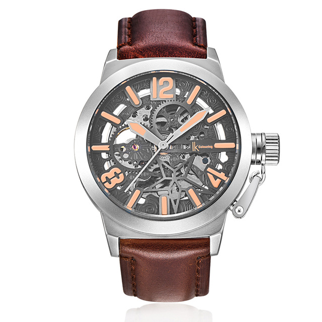 IKcolouring Rose Gold Case Automatic Mechanical Watches Men Brand Luxury Genuine Leather Transparent Hollow Skeleton Watch K00 brand new business watch men hollow engraving black gold case stainless steel watches skeleton mechanical automatic wristwatches