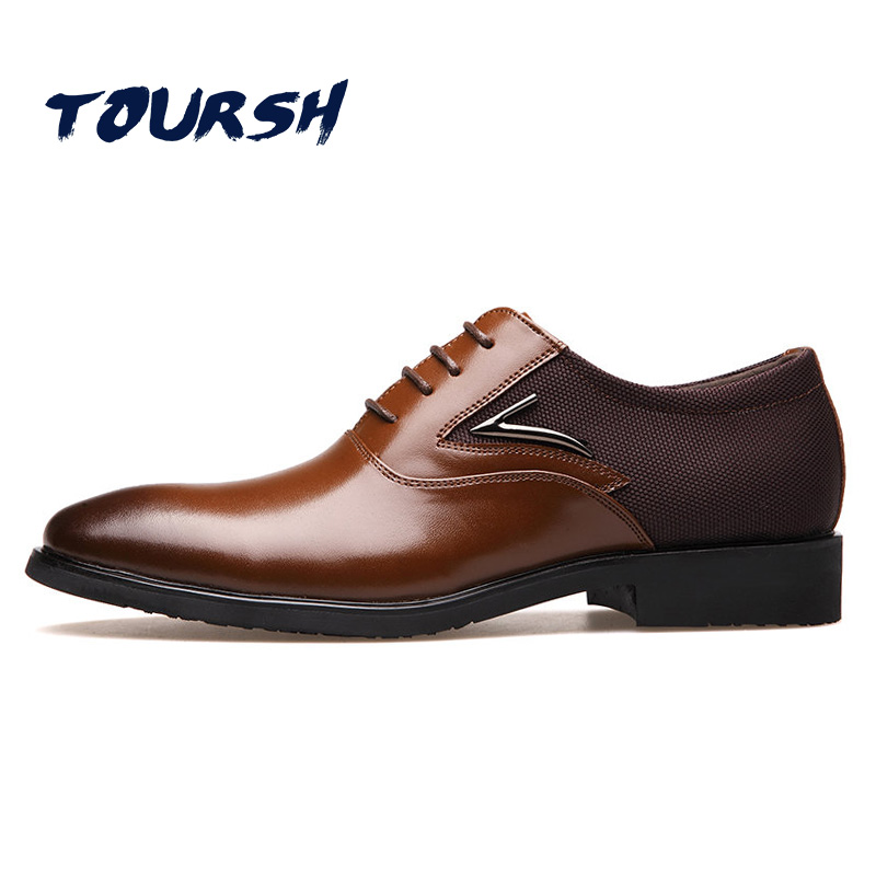 TOURSH Big Size 38-48 Luxury Brand Men'S Wedding Dress Shoes Elegant Gentle Business Shoes Pointed Toe Lace-Up Oxfords For Men agsan luxury brand men oxfords business shoes burgundy formal shoes men dress shoes lace up wedding oxfords pointed toe shoes