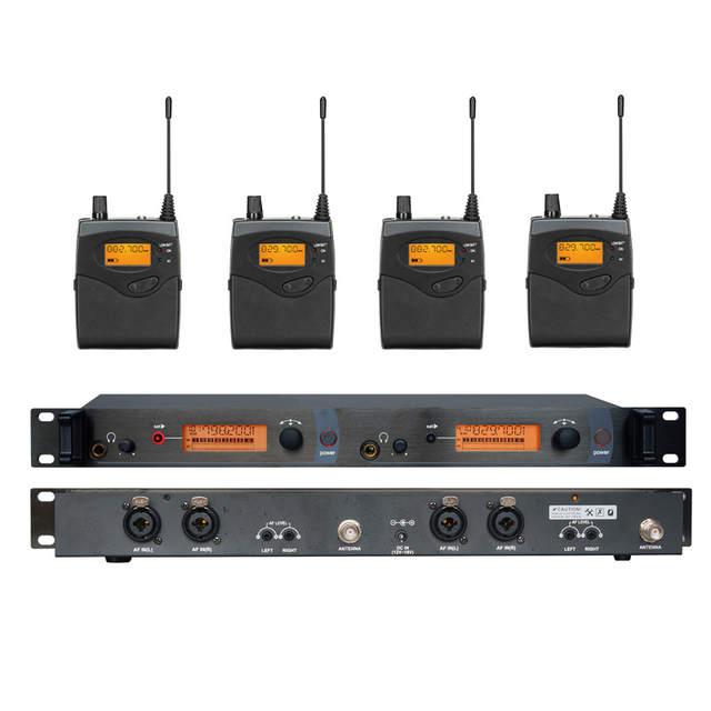 4 Pack Receivers + Wireless In Ear Monitor System, Professional Dual Channels Transmitter SR 2050 IEM
