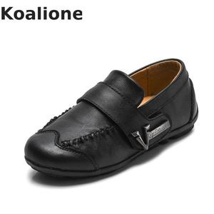 Image 5 - Genuine Leather Kids Shoes For Boys Black Dress Children Loafers Big Child Peas Shoes Student School Style Kids Moccasins Rubber