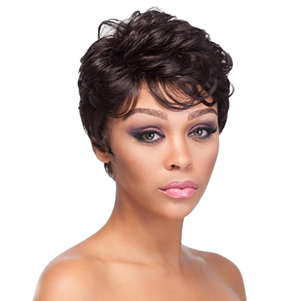 Factory price 1pc Women Ladies High temperature Fiber Short Curly Wigs Black Natural Hair Fluffy Full Wig Stand Fashion Dce4