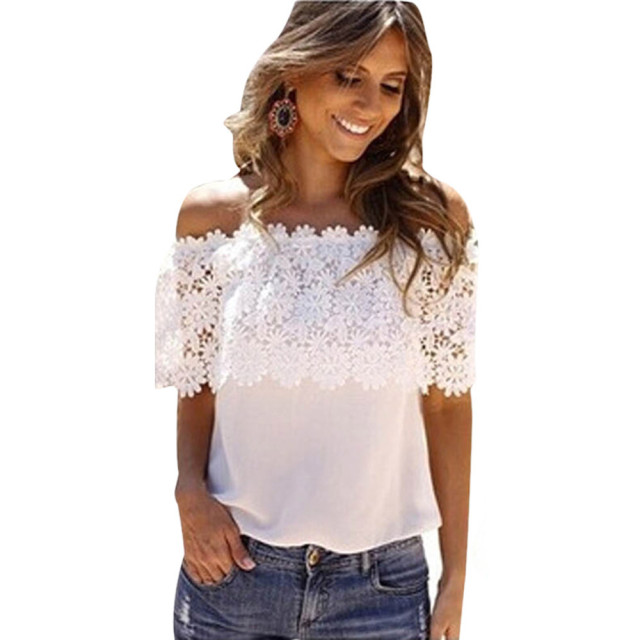 d38b01a70ea New Style Women Sexy Off Shoulder Blouse Lace Tops Short Sleeve Casual  Shirt Women Summer Fashion Clothing Blusas