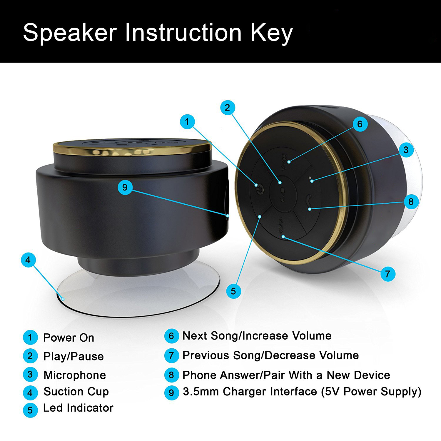 Bluetooth Shower Speaker ,IPX7 Waterproof - Wireless It makes it easy for all your Bluetooth devices - Phones, Tablets, Comput