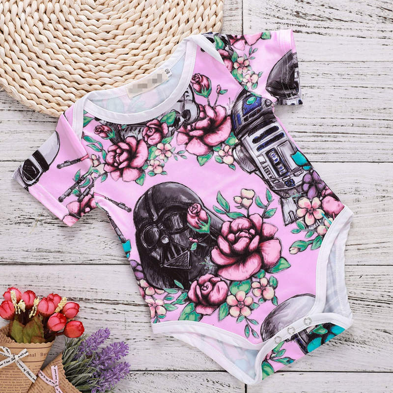 2018 Pink Summer Girls Floral Romper Infant Toddler Baby Girl Jumpsuit Baby Onesie Baby Stuff Costume For Newborns Girls Outfits