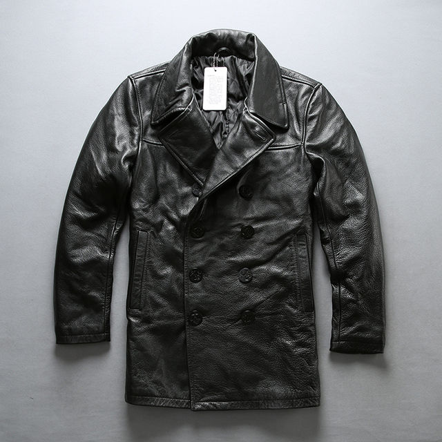 84cc6d058 Avirex fly class bea coat double breasted cow leather jacket men turn down  collar medium long