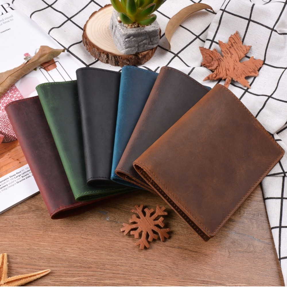 New Arrivals Genuine Crazy Horse Leather Passport Cover Solid Credit ID Card Case Holder Business Unisex Travel Wallet