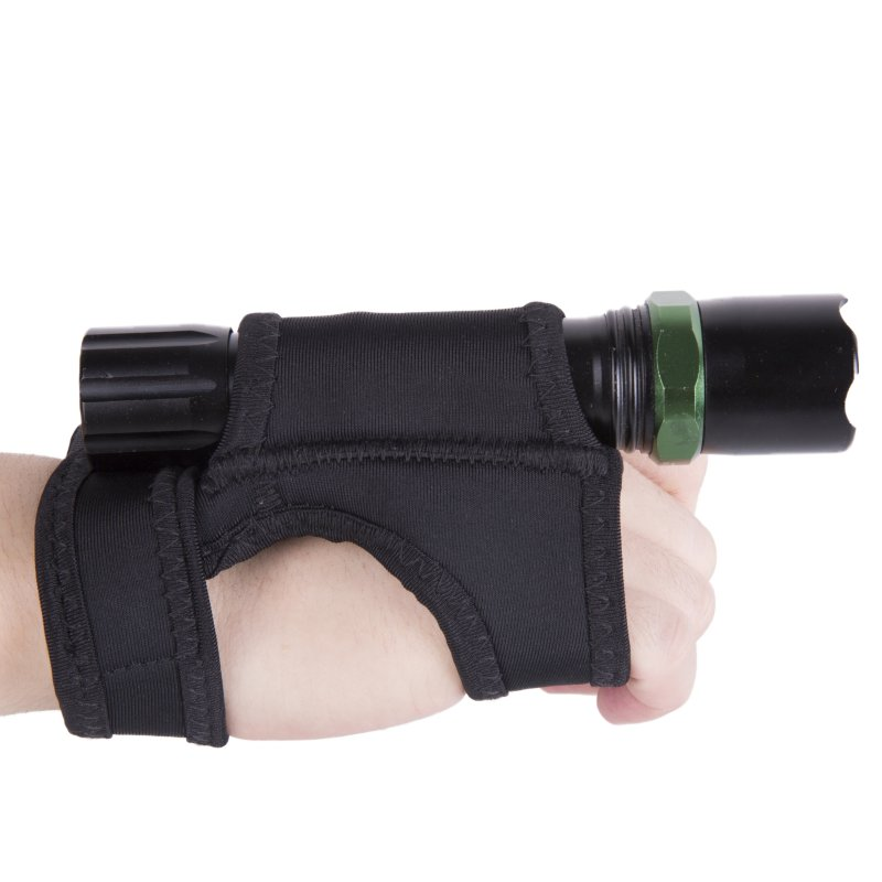 Underwater Scuba Diving Dive LED Torch Flashlight Holder Soft Black Neoprene Hand Arm Mount Wrist Strap Glove Hand Free