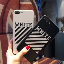OFF-WHITE OFF WHITE Abloh Kanye West Fashion Glossy Soft edge hard bottom Case for iPhone 6s 6 Plus Case Cover for iPhone 7 Plus