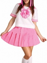 Free shipping White And Pink School Uniform Cosplay Costume