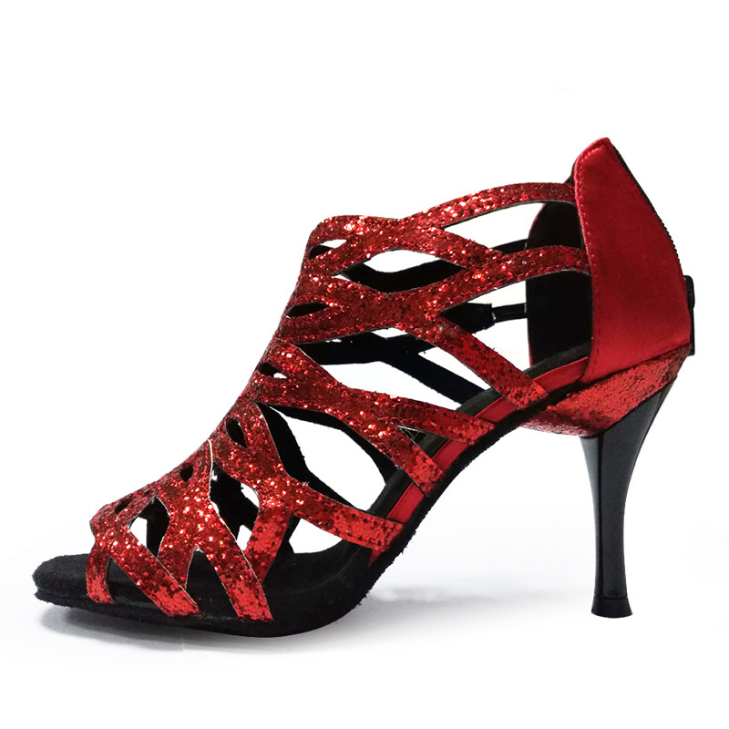 Shoes dance latin 8.5cm Slim high heel Leather soft sole Red Black Silver  Pink Ballroom Salsa Women Latin Shoes Sandals NL008-in Dance shoes from  Sports ... 40fdd72b4955