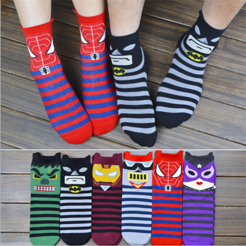 New Arrival women cartoon socks 12pairs/lot Spider-man iron man patterned soks men and w ...