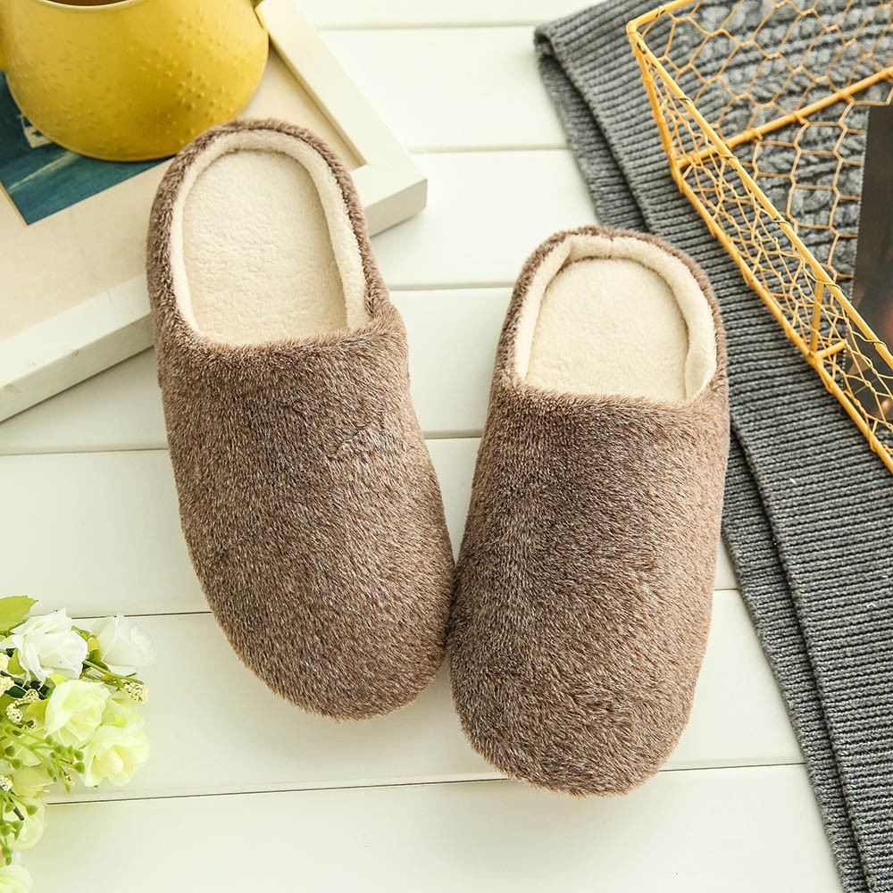 Men Indoor Shoes Warm Slippers Home Plush Soft IndoorsAnti-slip Winter Floor Bedroom Shoes Fashion Solid Color Slippers