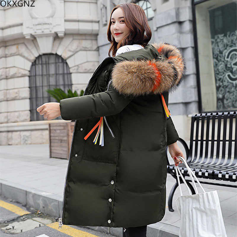 9ad3b1f7e2 2019 Winter New Women s Long Large Size Down Cotton Clothing Slim Hooded  Padded Cotton Casual Warm