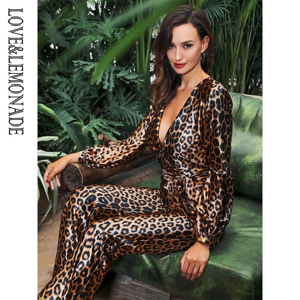Love & Lemonade сексуальный глубокий v-образный вырез с высокой талией леопардовый принт эластичный тканевый комбинезон LM81646-1 осень/зима