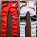 Wholesale & Retail New Male Club Jeans red White Knee Multi zipper Men Brand Slim motorcycle biker Jean denim Pants Homme
